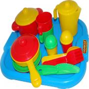 3940,Полесье,Набор детской посуды Настенька с подносом на 2 персоны